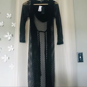 Black long net see through cardigan with hood